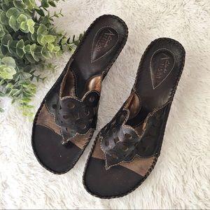 Clark's Artisan Brown leather laser cut sandals